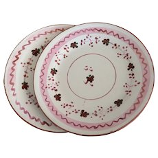 Pink Luster Cup Plates/Saucers (2) - ca: 1850