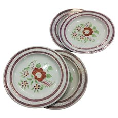 Pink Luster Plates (4) Hand Painted -ca:1800's