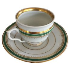 Luster Cup & Saucer - Green & White w/Gold Luster Bands