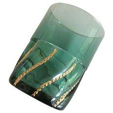 "Tumbler- ""Miller/Duncan"" turquoise w/ gold swirl beads"
