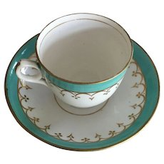Cup & Saucer -Turquoise & White