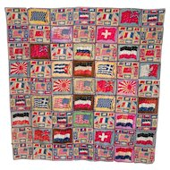 Tobacco Cigar Felt World Flag Quilt Blanket