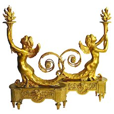 """19th c CHENETS Mermaid Fireplace Ornaments Gilt Bronze French Louis XVI 24"""" Tall"""