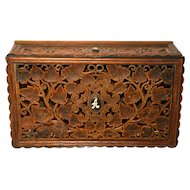 Hand Crafted Elaborate Filigree Carved Teak Box