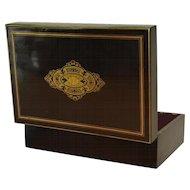 French Napoleon III Black Laquer Box w/ Monogramed Gold Cartouche 1800s Antique