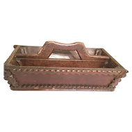 English Oak Hand Made Cuttlery Tote Caddy Box