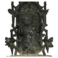 "Bronze Holy Water Font Kneeling Child Icon French 14"" 4lbs 13ozs Outdoor Garden"
