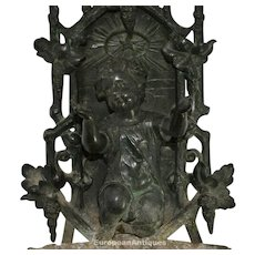 """Bronze Holy Water Font Kneeling Child Icon French 14"""" 4lbs 13ozs Outdoor Garden"""
