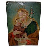 19th C Italian Retablo Icon Saint & Child Painting on Metal