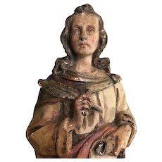 Saint John English Chalkware Statue 19th Century