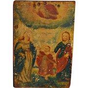 17th C Icon Hand Painted on Wood Jesus, Mary & Joseph
