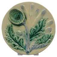 French Majolica Plate Artichoke Asparagus Serving 1910 Sauce 9 1/2'