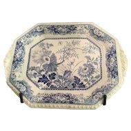 English 19th Century Blue & White Transferware Royal Persian Pottery Platter