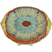 Majolica Bread Platter Charger Plate English Brown Center & Wheat