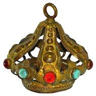 Antique 19th c. French Corona Crown LAMP CAP Catholic Santos Madonna Virgin Mary
