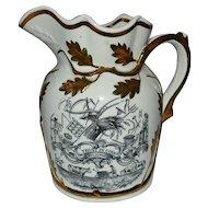 "Antique English Pottery Jug 19th Century ""Trust in God"" Poem Farmers Garden"