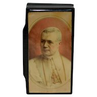 Pope Pius X Prayer Souvenir Confectioner's Jewelry BOX Black Lacquered 1900s