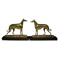 English Brass Greyhound Dogs Pair