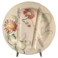 French Majolica Asparagus & Floral Plate