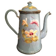French Blue Floral Enamelware Coffee Pot Graniteware