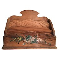 French Wooden Souvenir Letter Holder Box