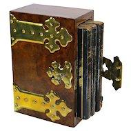 English Walnut Slipcase Book Box London c.1860 Cash Diary & Address Book