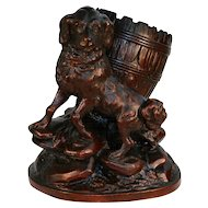 19th C Antique Black Forest Hand Carved Wood Dog Cigar Cigarette Match Holder