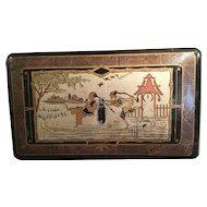 French Napoleon III Black Lacquer Chinoiserie Papier Mache Box Paris