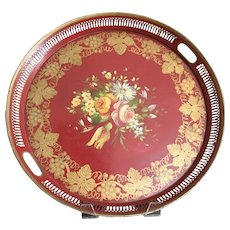 """French Hand Painted Tole Toleware Tray Red Floral 17 3/4"""""""