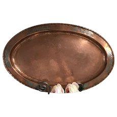 English Arts and Crafts Copper on Pewter Serving Tray