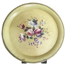 """French Country Yellow Tole Toleware Tray 15 1/2""""  Round"""