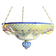 French Faience Nevers Majolica Hanging Flower Basket Planter Signed Jardiniere