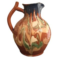 French Pottery Hand Painted Pitcher