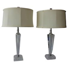 Pair Tapered Crystal Lamps, Vintage c1965