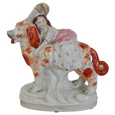 "Staffordshire Figure "" Girl and Her Dog"
