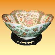 Chinese Rose Medallion Lobed Bowl