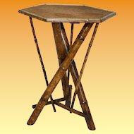 English Bamboo Rectangular Top Tri Table
