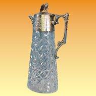 Victorian Silver and Cut Glass Claret Jug c.1855