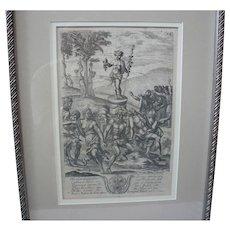 Italian Bacchus Engraving c.1640