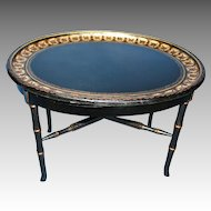 English Oval  Paper Mache Gilted Tray on Stand