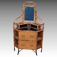 English Bamboo Corner Dresser circa 1885