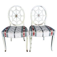 "Pair Sheraton, ""Spider Web "" Back Side chairs c.1785"