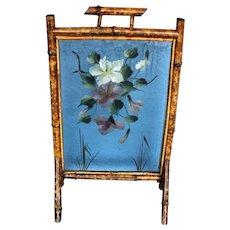 English Bamboo Glass Fireplace Screen c. 1890