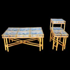 Rattan Coffee Table and matching side table, pre 1940