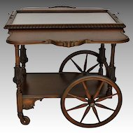 Mahogany wheeled Bar, Serving Cart. Vintage American