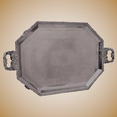 Victorian English Silver-plate Tea Tray, Octogonal