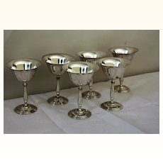 Set of six Silver Plated Cocktail Glasses c.1875