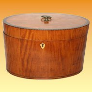 Unusual Oval Satinwood/Mahogany banded box c.1790