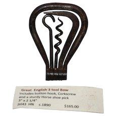 English 3 tool pocket tool, corkscrew c.1885