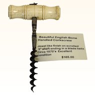 English Bone handle corkscrew